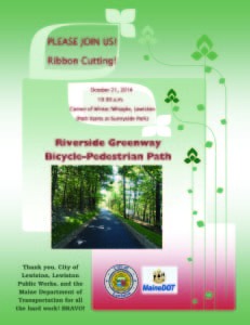 Note: We have learned the time of the ribbon-cutting for the Riverside Greenway Bicycle and Pedestrian Path has changed to 11AM.