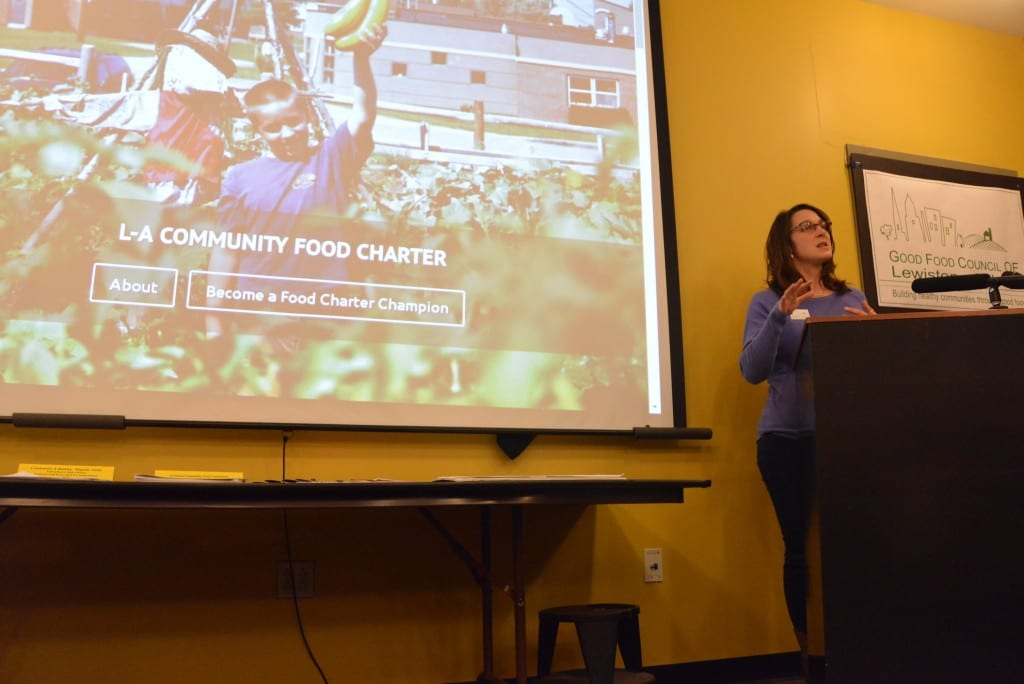 Karen Bolduc, Chair of Good Food Council of Lewiston-Auburn and local farmer, explains the purpose and the need for the Lewiston-Auburn Community Food Charter, the first Food Charter in State of Maine.